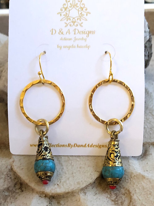 Tibetan Turquoise & Gold earring