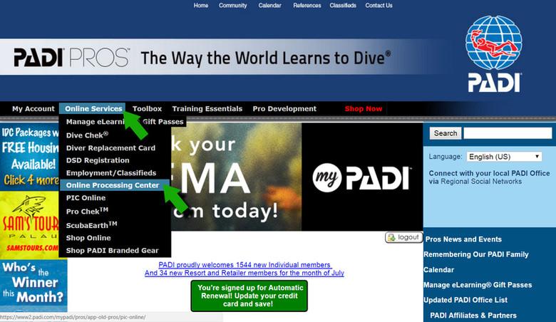 PADI Pro's website