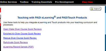 Teaching with PADI eLearning and Touch Products
