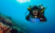 Frontal view of a scuba diver in proper trim.