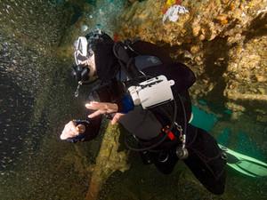 Wreck diver inside a wreck