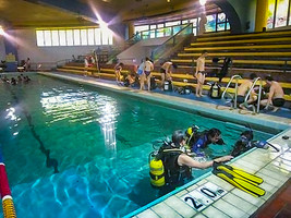 Scuba dive training at Chi Fu Fa Yuen swimming pool, Hong Kong Island