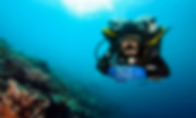 Front view of a scuba diver in proper horizontal trim.