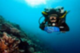 Front view of a scuba diver in proper horizontal trim.