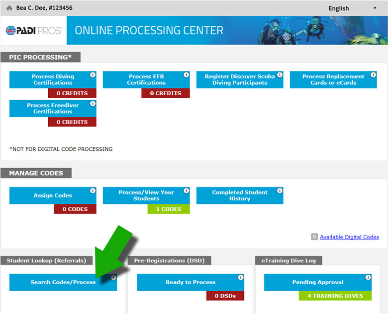 PADI Online Processing Center
