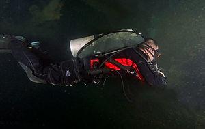 Wreck diver in proper trim