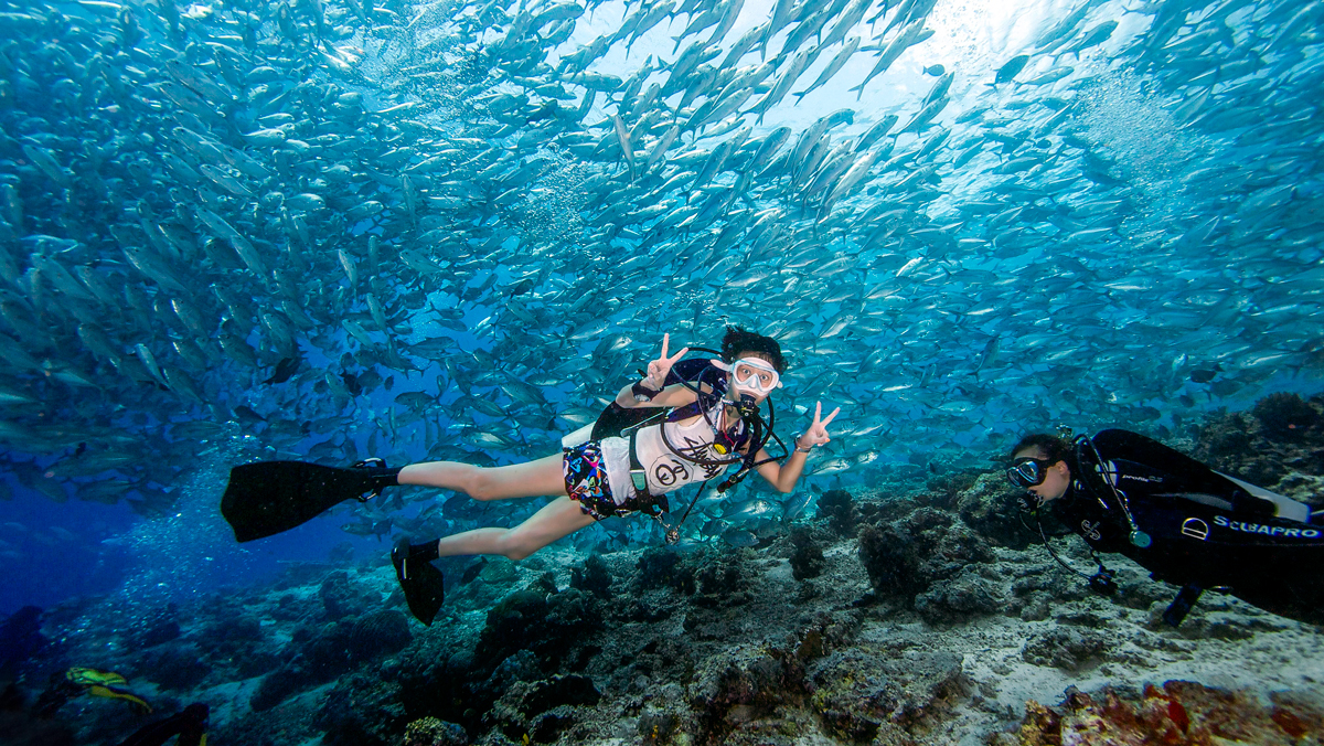 Scuba diver with school of fish