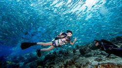 Scuba diver with school of fish