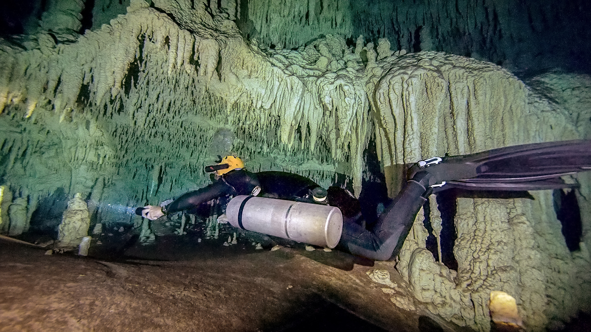 Sidemount cave diving