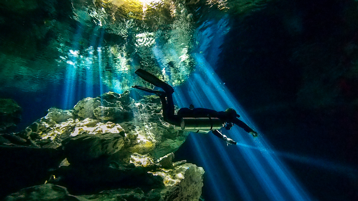 Diver at Taj Mahal Cenote