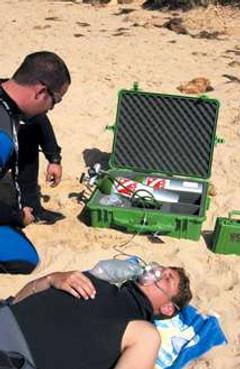 Emergency Oxygen for weakly breathing unconscious diver.