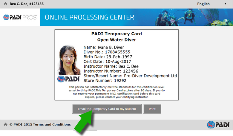PADI Open Water Diver Temporary Card.