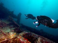 Scuba Divers at a Wreck