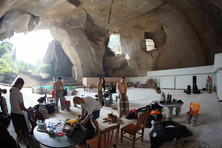 Setting up for cave dive training in Sai Siu Saan.
