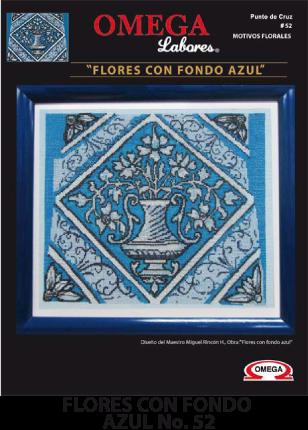 No. 52 Flores con fondo azul