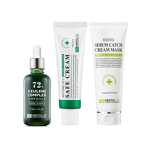 Oily Skin Fix Up Kit (Azulene Ampoule, Cica Safe Cream, Sebum Catch Cream Mask)