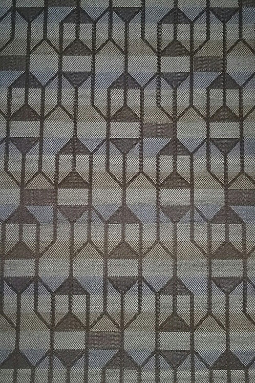 Gray Blue Tan with Brown Pattern Fabric Upholstery