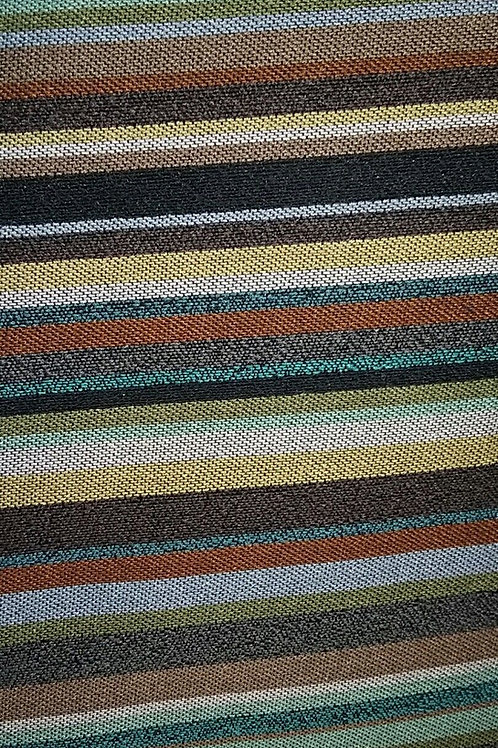 Brown Gray Blue Orange Pin Stripes Fabric Upholstery