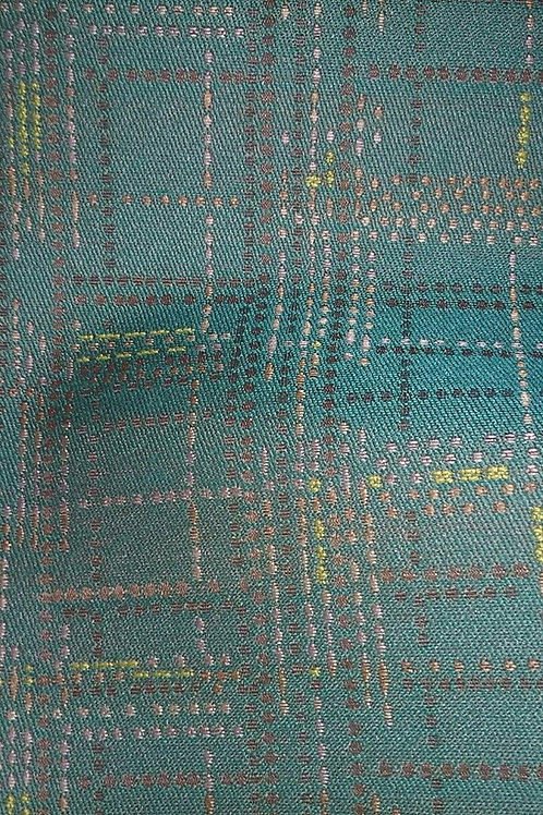 Green, Orange, Yellow, Brown, Gold Line Pattern Fabric Upholstery
