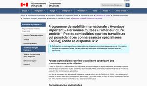 Extrait du site d'IRCC sur le C12 - Connaissances spécialisées