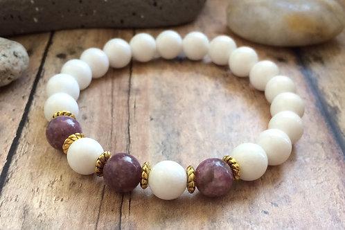 Lepidolite & Jade Calming Bracelet