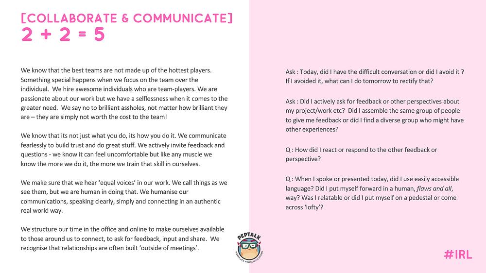 PepTalk's Value - Collaborate and Communicate