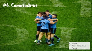 The Dublin GAA Footballers embrace in Croke Park after winning