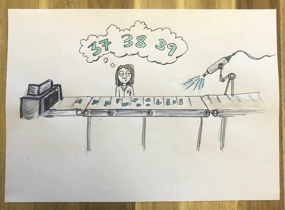 Girl on production line counting microplastics