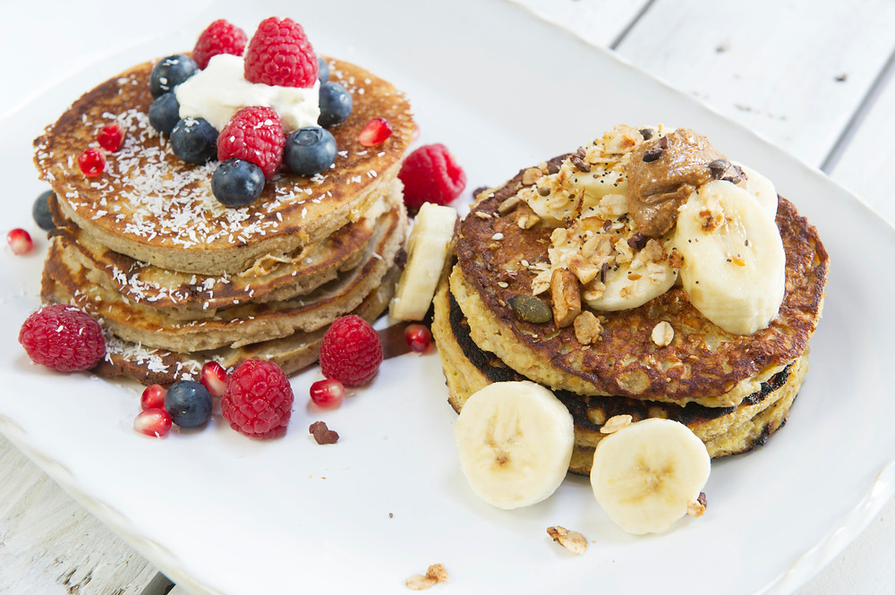 Sinead Delahuntys Health Pancakes covered in fruit and lightly dusted