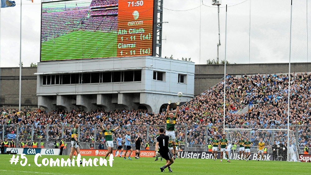 Stephen Cluxton kicks a crucial point to win the match for the Dublin GAA footballers