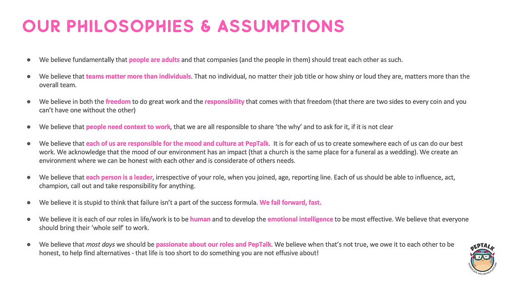 PepTalks philosophies and assumptions around culture