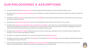 PepTalks philosophies and assumptions around culture