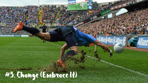 Bernard Brogan dives but misses to catch a ball at Croke Park, Dublin