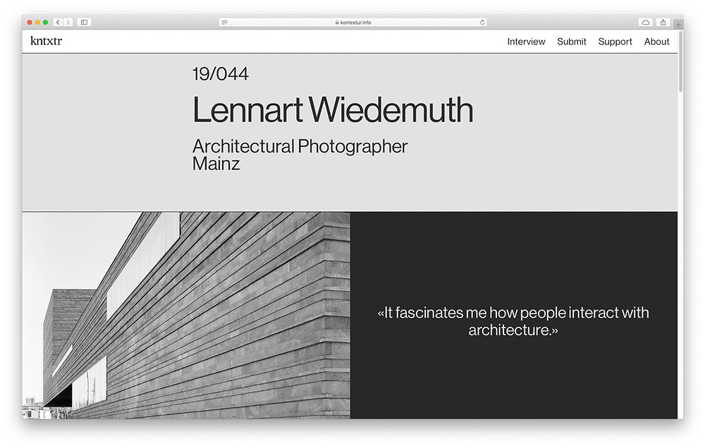 Interview mit dem online Architekturmagazin Kontextur.