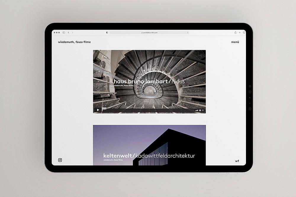 Website von wiedemuth, feuss film einem Studio für Architekturfilme.