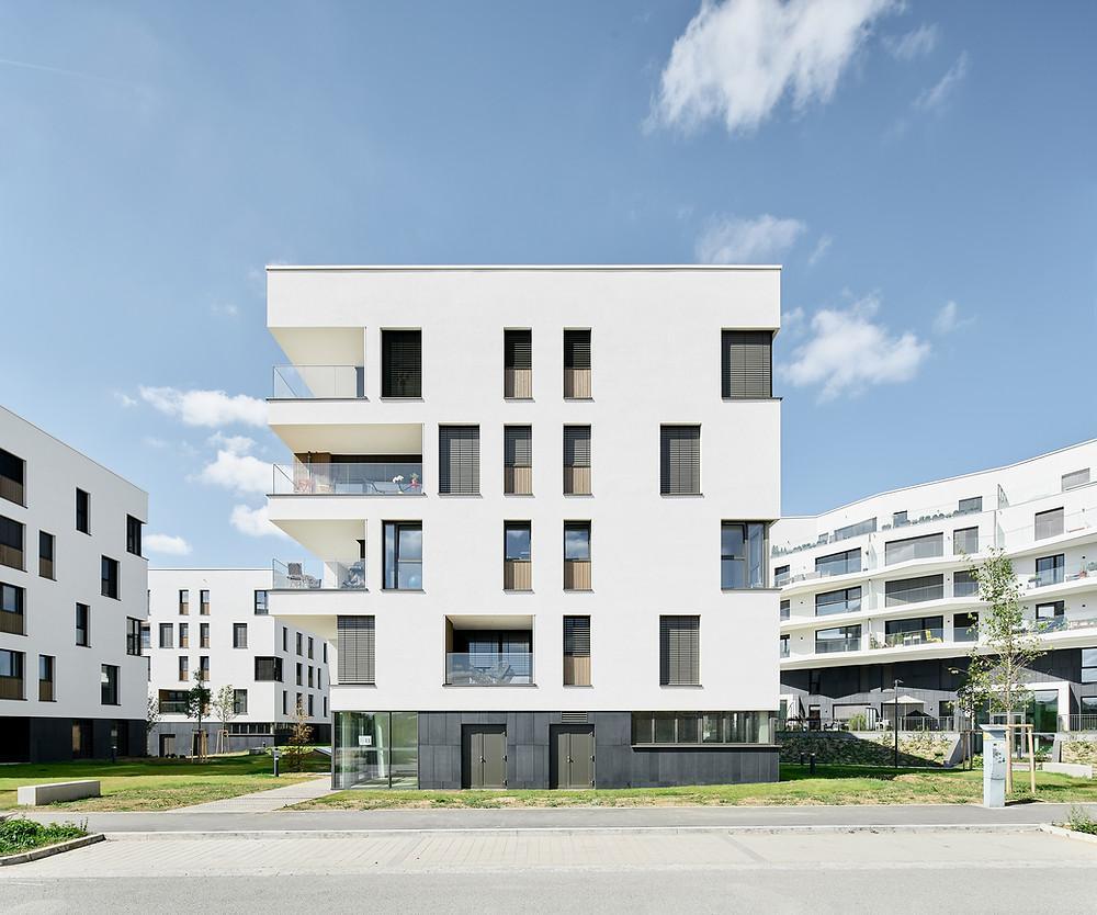 Architekturfotografie eines Wohnareals in Luxembourg City