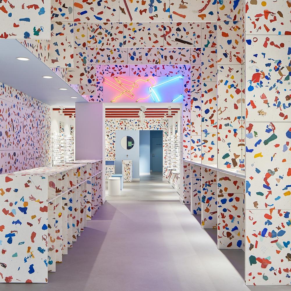 Architekturfotografie des neuen Ace & Tates stores in Antwerpen, Belgien.