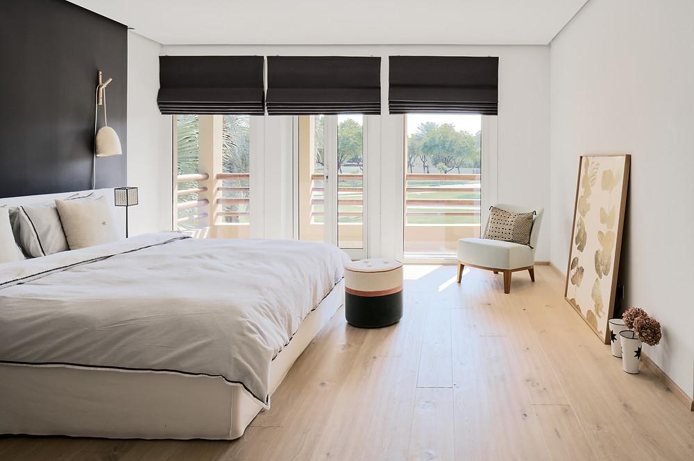 Interieurfotografie des Schlazimmers in der Villa Hattan, Dubai.