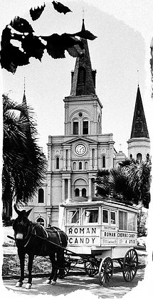 St. Louis Cathedral & Roman Candy Man, 1980, New Orleans