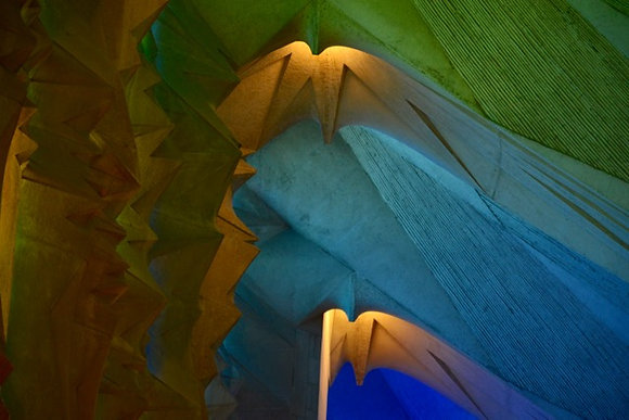 Color Awe, God's light pouring in Sagrada Familia