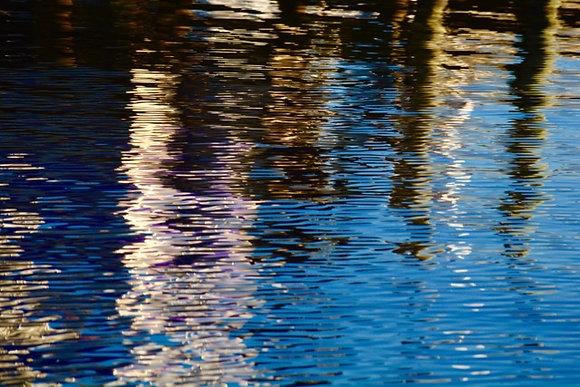 Pier Colors 3, pier & water reflections, Tchefuncte River