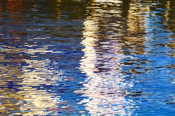 Pier Colors 2, pier & water reflections, Tchefuncte River