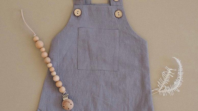 Mebie - GRAY summer short overalls (linen)