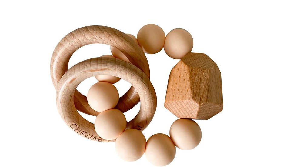 Chewable charm - wood and silicone bead teether