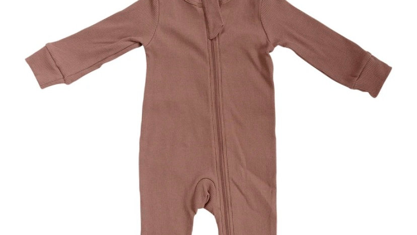 MEBIE - Dusty Rose Organic Cotton Ribbed Zipper Footless One-piece