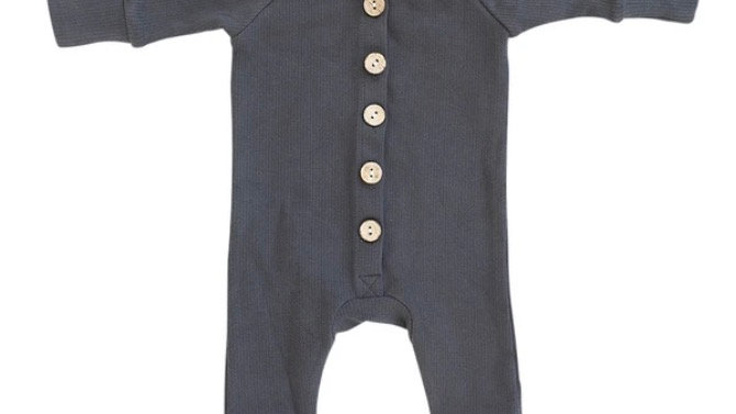MEBIE - ribbed long sleeve button romper