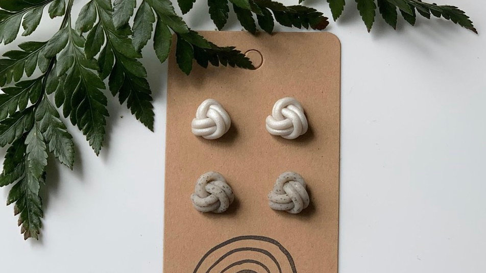 Marble + Bow - Double knot studs (2pack)