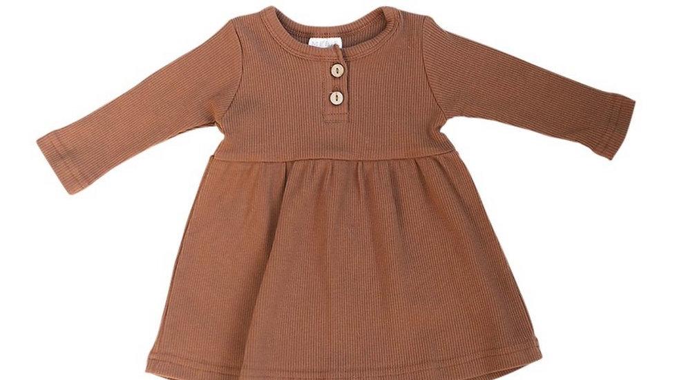 Mebie - ribbed dress in rust