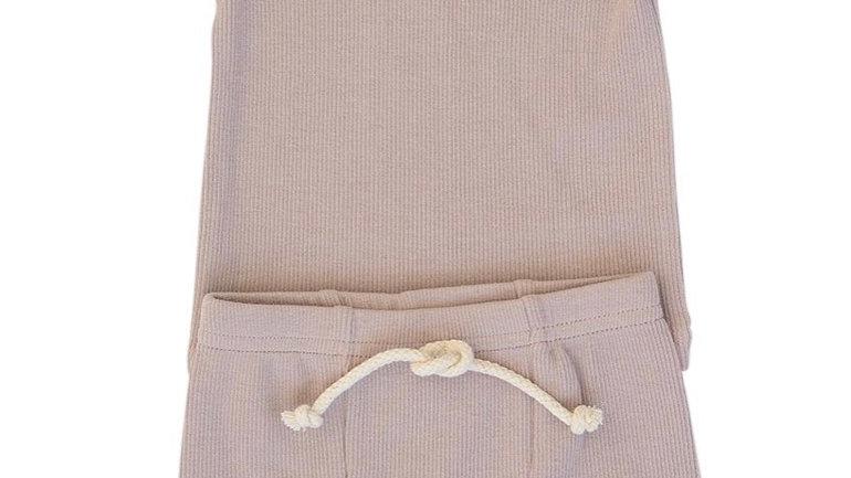 Ribbed cotton short 2pc set LAVENDER