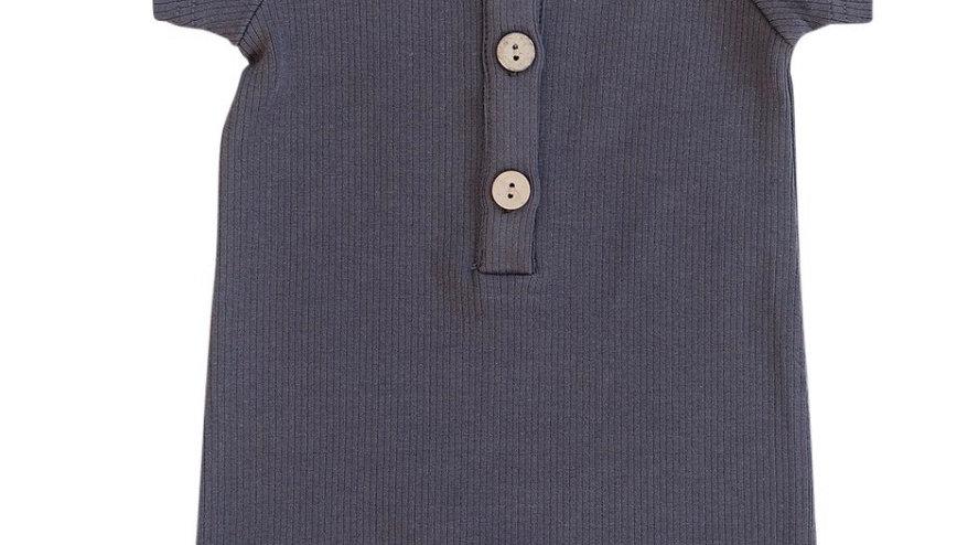 Mebie - Charcoal summer button romper
